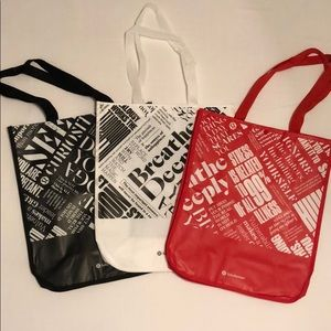 3 Large Special Edition Matte Lululemon Tote Bags